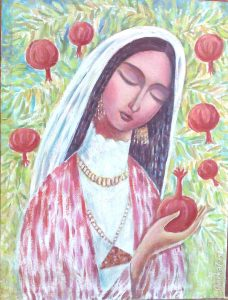 Beauty with pomegranate 44,5x59,5 cm, oil / canvas, 2009
