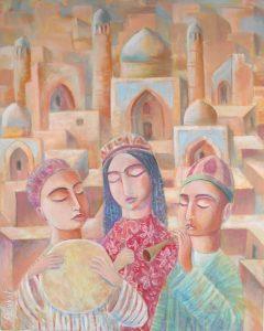 Easter (Бу ерга 3 та болани тарихий шахар фонидаги расми) 60х73сm, acrylic / canvas, 2010