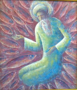 "Sheikh  Ibragim Adham and fish ( Poem A. Navai  ""The Language of Birds"")   57х65 cm, oil / canvas , 2008"